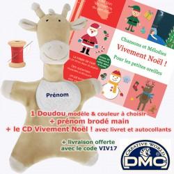 1 Doudou Girafon brodé sable, rose ou bleu + 1 CD bébé au choix