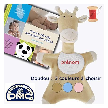Doudou Girafon brodé (sable, rose ou bleu) + CD Bébé à choisir