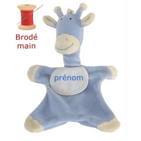 Doudou Girafon Bleu Brodé