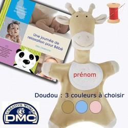 Doudou Girafon brodé (sable, rose ou bleu) + CD Bébé