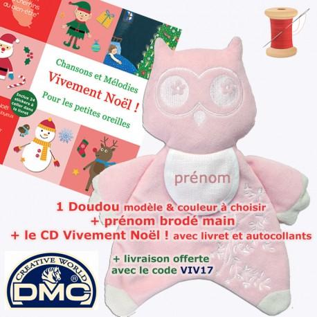 1 Doudou Hibou brodé rose ou bleu + 1 CD bébé au choix