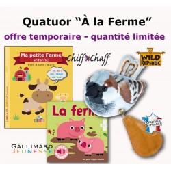 """Offre QUATUOR """"À LA FERME"""" : 2 livres -1 peluche -1 appeau"""