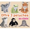 "OFFRE LOT 3 peluches sonores ""animaux"" Wild Republic"