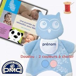 Doudou Hibou brodé + 1 CD Bébé à choisir