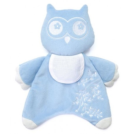 Doudou Bébé Hibou bleu à broder