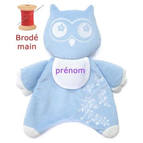 Doudou Hibou Bleu brodé